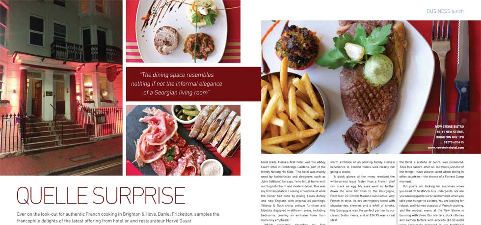 Quelle Surprise - Portfolio Magazine, Business Lunch Review of New Steine Bistro, June 2016.