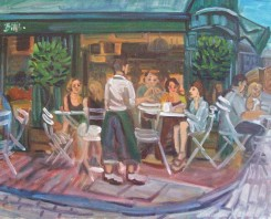 Philomena Harmsworth, painter, New Steine Hotel exhibition 'Bills-Lewes'