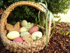 easter nest and easter eggs