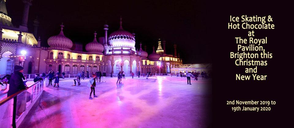 Ice skating at the Royal Pavilion in Brighton.